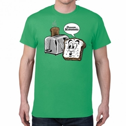 Funny T Shirts Wholesale - Funny Hillarious Sayings One Liners Bulk - Toast -Burn 24010 short sleeve green
