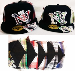 Bulk Suppliers hat0112. Fitted Cap NY New York Plaid Flat Hats Wholesale