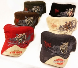 Hats Caps Bulk Suppliers - Hat191. Wholesale Prewashed Cloth NY NewYork Hat Castro Military Style