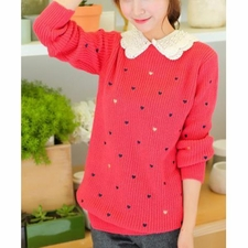 Wholesale Clothing - Heart Embroidery Sweet Convertible Collar Long Sleeve Womens Sweater