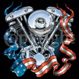 Wholesale T Shirts  - biker engine flag patriotic