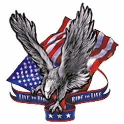 Wholesale T Shirts Hats, Military Tee Shirts, Live To Ride~Eagle & Amer Flag - A10426D