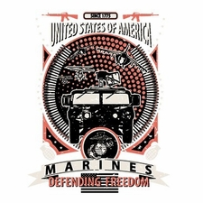 Wholesale T Shirts Hats, Military Tee Shirts, Marines Defending Freedom - a11922e