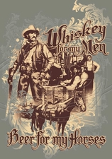 Wholesale - Cowboy T Shirts - HO-51 Whiskey Beer Horses