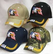 Wholesale Caps, Wholesale Hats, Patriotic - Eagle Flag Hats Wholesale - CAP676