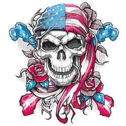 Screen Printed Military T Shirts - Wholesale Bulk Suppliers - AMERICANA SKULL BANDANA 20289HL2-2T
