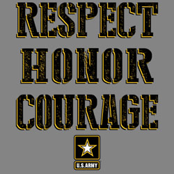 Screen Printed Army Military T Shirts - Wholesale Bulk Suppliers - U.S. ARMY RESPECT HONOR COURAGE 19965E1-2T