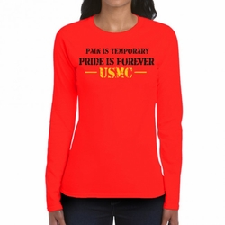 Military Shirts - Screen Printed Wholesale T Shirts Bulk - Pain Is Temporary Heat Transfer 22226 long sleeve red