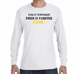 Wholesale, USMC Military Shirts - Screen Printed Wholesale T Shirts Bulk - Pain Is Temporary 22226 long sleeve white