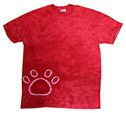 Wholesale Tie Dye Print T-Shirts - PAW RED