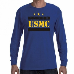 Military Shirts - Screen Printed Wholesale T Shirts Bulk - Proud USMC Heat Transfer 22223 long sleeve blue