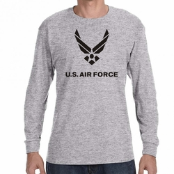 Screen Printed Military T Shirts - US Air Force Heat Transfer 22009 long sleeve sport grey