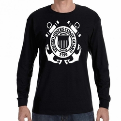 Screen Printed Military T Shirts - US Coast Guard Heat Transfer 22313  long sleeve black