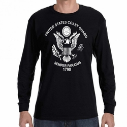 Screen Printed Military T Shirts - US Coast Guard Symbol 22299 long sleeve black