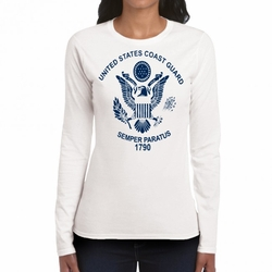 Screen Printed Military T Shirts - US Coast Guard  Symbol Long Sleeve White 22299