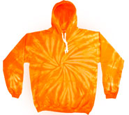 Bulk Wholesale Sweatshirts Hooded Tie Dye - SPIDER ORANGE
