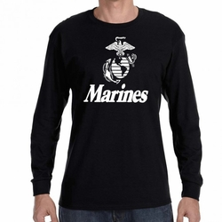 Screen Printed Wholesale Military Bulk Veterans USA T Shirts - Marines  Emblem 22005 long sleeve black