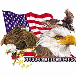 Wholesale T Shirts Hats, Military Tee Shirts, Support Our Troops-Eagle -A1245E