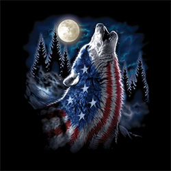 Patriotic Wholesale T-Shirts Suppliers - FLAG WOLF AMERICANA  20969D1-1