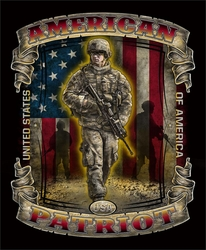 Wholesale Military T Shirts American Patriot - T27 - JUMBO PRINT on Black