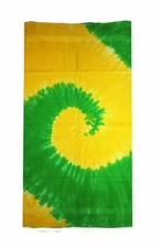 Tie Dye Beach Towels Wholesale - SPIRAL YELLOW  LIME