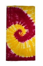Tie Dye Beach Towels Wholesale - SPIRAL YELLOW  PINK