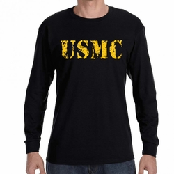 Military Shirts - Screen Printed Wholesale T Shirts Bulk - USMC Heat Transfer 22224 long sleeve black