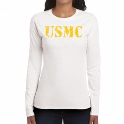 Military Shirts - Screen Printed Wholesale T Shirts Bulk - USMC Heat Transfer 22224 long sleeve white