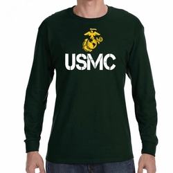 Wholesale, Military Shirts - Screen Printed Wholesale T Shirts Bulk - USMC Symbol 22225 long sleeve green