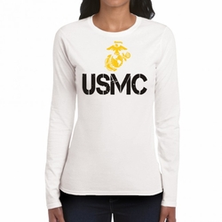 Wholesale, USMC Military T Shirts, Bulk - USMC Symbol 22225 long sleeve white