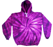 Bulk Wholesale Sweatshirts Hooded Tie Dye - SPIDER PURPLE