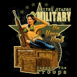 Wholesale Patriotic American Shirts -Wholesale Apparel - Military T-Shirts - 17079-12x14-pinup-united-states-military-do-your-part-support-troops