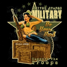 Wholesale Apparel - Military T-Shirts - 17079-12x14-pinup-united-states-military-do-your-part-support-troops