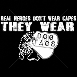 Patriotic American Shirts -Wholesale Apparel - Military T-Shirts - 17988-13x7-real-heroes-dont-wear-capes-they-wear-dog-tags