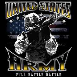 Screen Printed Military T Shirts - Wholesale Bulk Suppliers - US ARMY FULL BATTLE RATTLE - 19916D1 Military T Shirts, Army Wholesale Bulk Suppliers - MSC Distributors