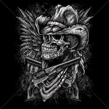 Wholesale Biker T-Shirts, Custom T-Shirts - 13536-14x18-skull-cowboy-guns-wings