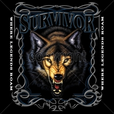 Biker T-Shirts Wholesale Bulk Custom Motorcycle - 13355-12x14-survivor-where-legends-roam-wolf