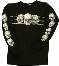 Wholesale Clothing Biker T-Shirts Long Sleeve Bulk Supplier Wholesaler - S140LSP (BLACK)