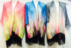 Wholesale Bulk Apparel Suppliers - DressAA004. Wholesale Tie Dye Color Effect Beach Cover Up with Fringes