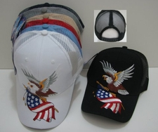 Wholesale Bulk Hats Military Fashion - Wholesale - Military Hats - HT248. ...Eagle with Flag-Mesh Back Ball Cap
