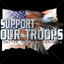 Wholesale Clothing, Plus Sizes, M-5XL, Military Patriotic T Shirts - 10657-10x13-support-our-troops-eagle-flag