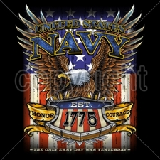 Bulk T Shirts Military Fashion - Wholesale - Military T Shirts - 15027-11x14-united-states-navy-est-1775-honor-courage-only-easy-day-wa