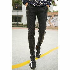 Wholesale Clothing - Close-Fitting Zipper Fly Solid Color Pocket Embellished Narrow Feet PU