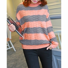 Wholesale Clothing - Color Block Casual Style Jewel Neck Long Sleeve Womens Sweater 31.45