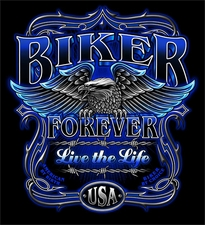 Wholesale Discount T-Shirts biker forever blue s273b