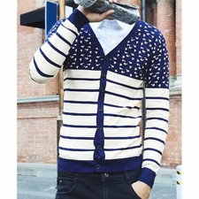 Wholesale Clothing - Refreshing V-Neck Slimming Stripes Print Splicing Color Block Long Sleeve