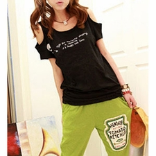 Wholesale Clothing - Skull Print Casual Style Cut Out Cotton Scoop Neck Short Sleeve T-shir
