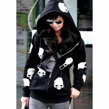 Wholesale Clothing - Stylish Hooded Long Sleeve Zippered Skull Print Hoodie For Women 30.47