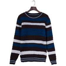 Wholesale Clothing - Trendy Knitting Colorful Stripes Jacquard Round Neck Slimming Long Sleeve