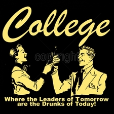 Wholesale Custom Printed Funny Vintage T Shirts - 16544-10x9-college-where-leaders-tomorrow-are-drunks-today